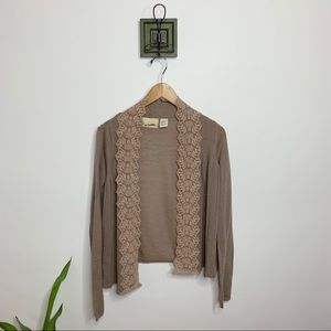 Guinevere Anthropologie Tan Lace Crochet Cardigan